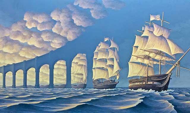 Foto di un'illusione ottica