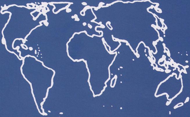 mappa mondo senza Europa