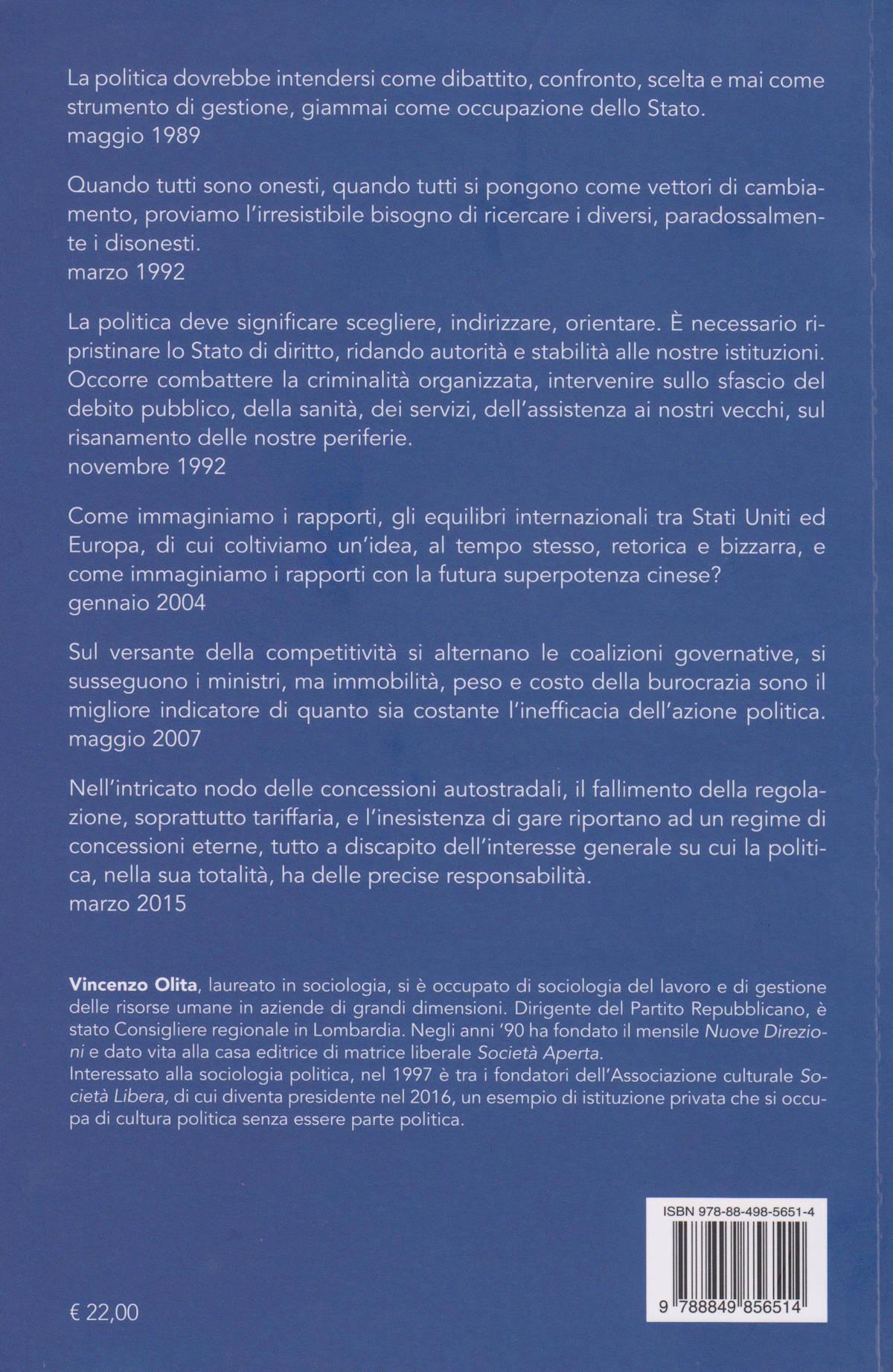 Il retro copertina del libro Illusione della libertà certezza della solitudine, di Vincenzo Olita