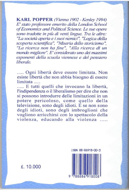 Il retro copertina del libro La informazione violenta di Karl Popper