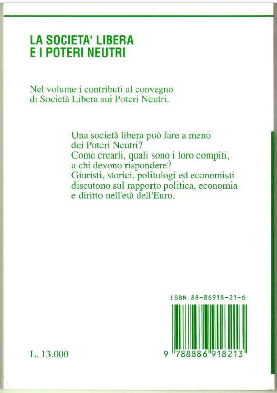 Il retro copertina del libro La società aperta e i poteri forti