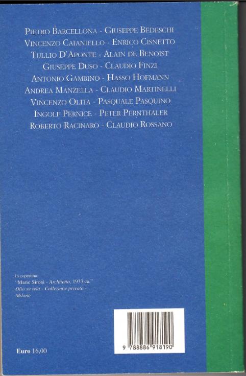 Il retro copertina del libro L'Europa e il futuro della politica