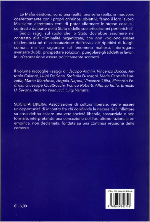 Il retro copertina del libro Stato e criminalità