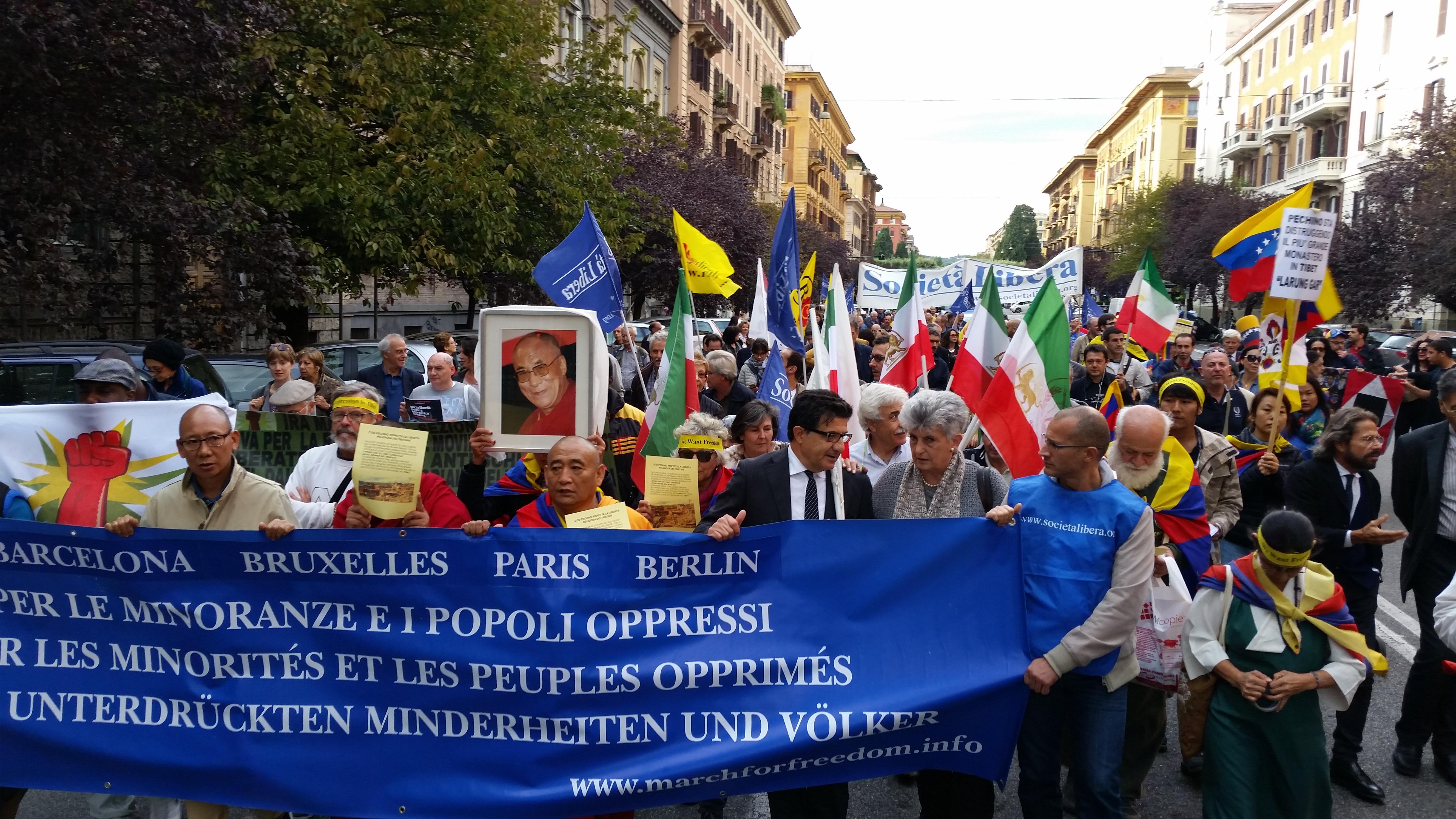 Roma, Parigi, IX Marcia per la Libertà dei popoli e delle minoranze oppresse, 8 ottobre 2016