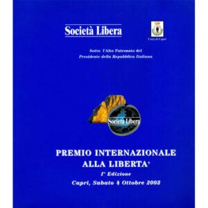 La copertina del catalogo Premio internazionale alla libertà 1° edizione