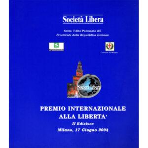 La copertina del catalogo Premio internazionale alla libertà 2° edizione