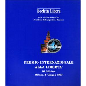 La copertina del catalogo Premio internazionale alla libertà 3° edizione
