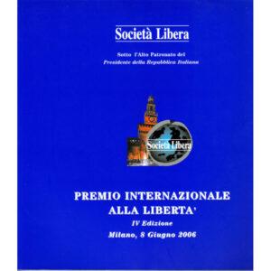 La copertina del catalogo Premio internazionale alla libertà 4° edizione