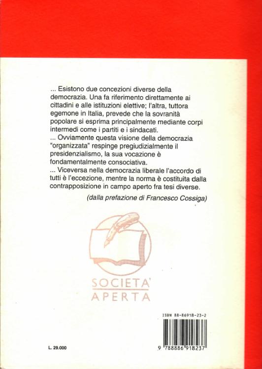 Il retro copertina del libro Breve storia del presidenzialismo in Italia 1946-1992