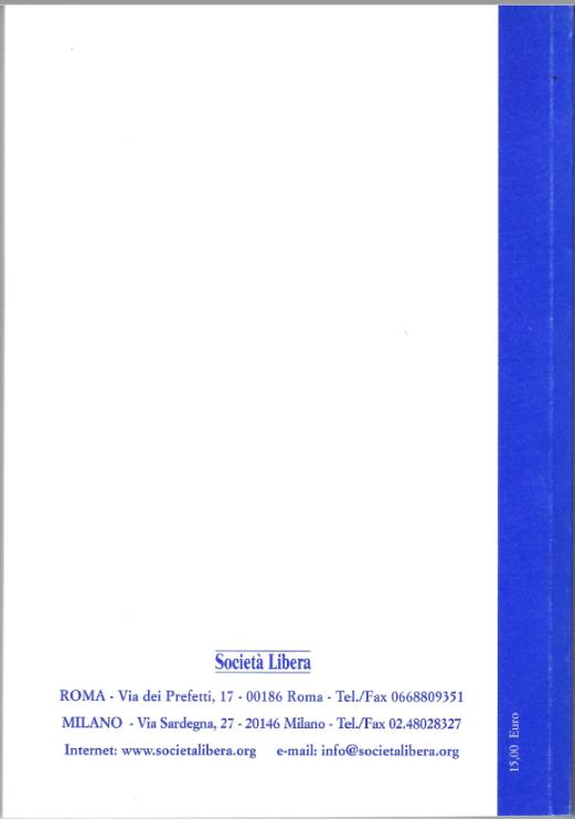 Il retro copertina del libro 5° rapporto sul processo di liberalizzazione della società italiana