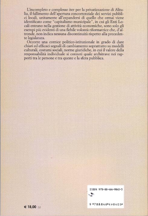 Il retro copertina del libro 6° rapporto sul processo di liberalizzazione della società italiana