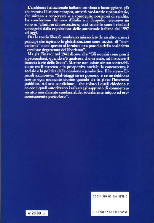Il retro copertina del libro 7° rapporto sul processo di liberalizzazione della società italiana