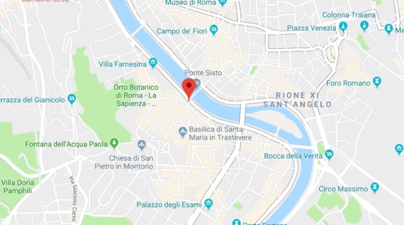 La mappa che indica Piazza Trilussa a Roma