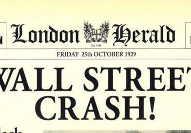 La prima pagina del London Herald che titola: Wall Street Crash del 25 ottobre 1929