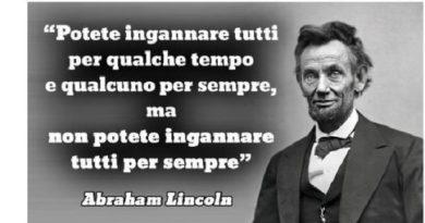 Ritratto di Abraham Lincoln con un suo aforisma