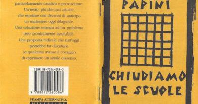 La copertina del libro Chiudiamo le scuole, di Giovanni Papini